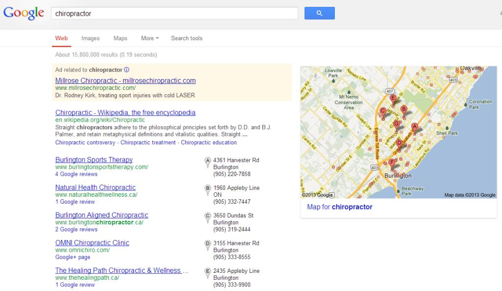Chiropractor Burlington Google